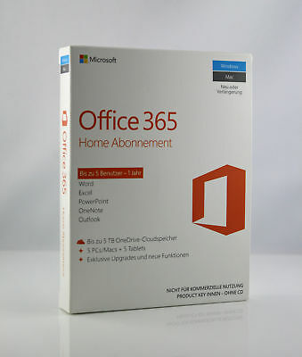 Microsoft Office 365 Home 5 Pcmac 5 Tablets 1 Jahr Abo