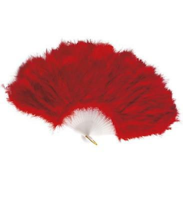 Feathered Flurry Fan Red Fluffy Burlesque Dancer Soft Fancy Accessories Brise'