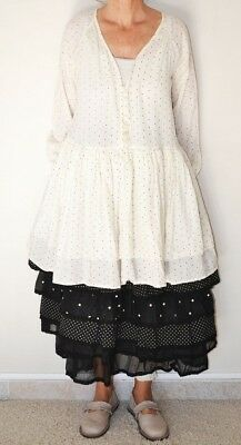 NWT Les Ours d'Uzes France Anna Tunic Top White with Black Dots Size Medium