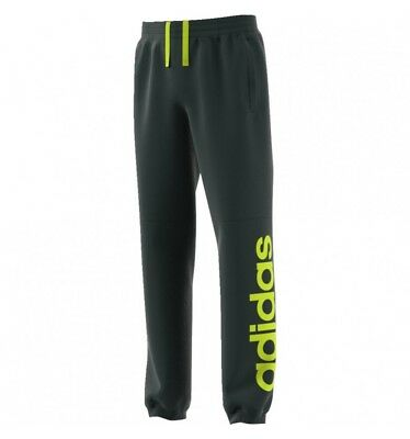 boys adidas joggers  linear logo pants fleece girls green night/solar yellow