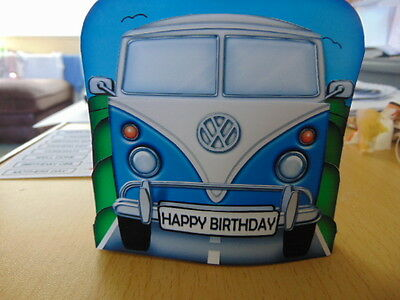 309d67c284 Handmade Toppers or Personalised Card. choice of sizes VW CAMPER VAN Retro  BLUE