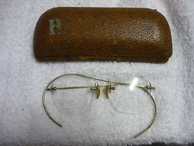 Antique  Spectacles, rimless, sprung metal / wire temples