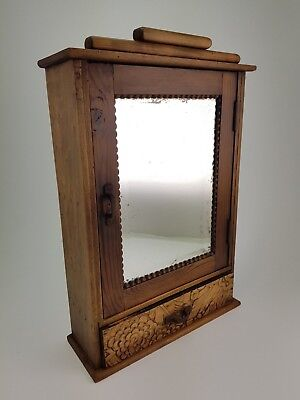 French Antique Art Deco Medicine / Key cabinet with mirror
