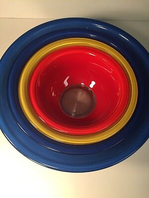 4 Vintage Pyrex Corning Primary Colors Nesting Mixing Bowls Clear Bottom EUC SET