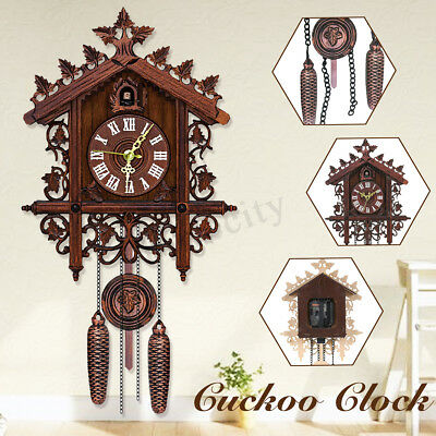 Handcraft Wood Cuckoo Clock House Forest Swing Wall Clock Vintage Home Art Decor