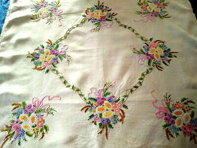 Exquisite Mixed Flower Bouquets ~ Vintage Hand Embroidered Tablecloth