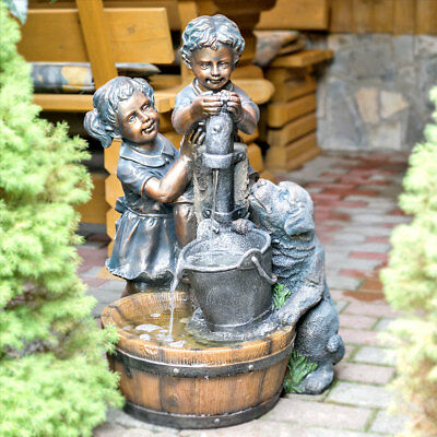 Fountain Pair of Children / Dog, Garden Fountain, Fountain, Incl. Pump