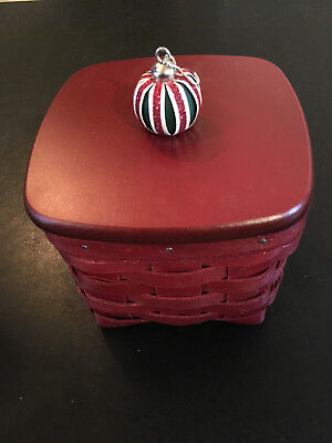 Longaberger 2011 New Holiday Gift Red Basket,  Lid, Tag