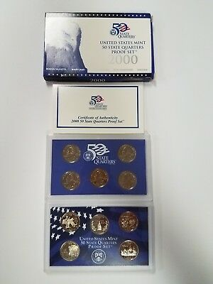 Ps0500Sqbmc Us Mint Proof 5 Coin Set 2000 State Quarters Base Metal Cameo Fresh