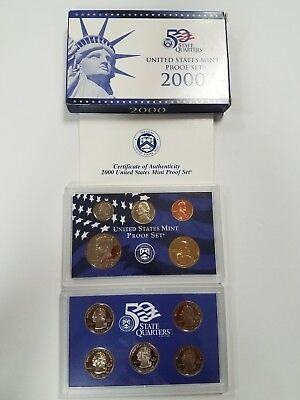 Ps1000Bmc Us Mint Proof 10 Coin Set 2000 Base Metal Cameo Fresh Ogp Ships Free!!