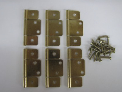Mobile Home RV Interior Door Hinges Package of 6 Non-mortise Polished Brass