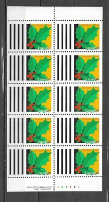 pk39944:Stamps-Canada #1588a Christmas 40 cent Booklet Pane-Mint Never Hinged