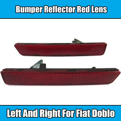 1x Bumper Reflector For Fiat Doblo Left & Right Red Lens Light Lamp