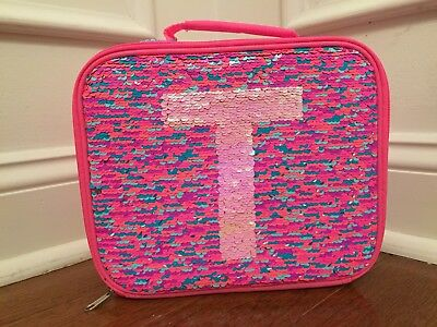 Justice Pink Silver Flip Sequin Initial T Lunch Box Tote New!