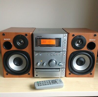 Sony Micro Hi-Fi CMT-CPX, Tape, CD, Radio, 2 Speakers, Remote - Fully Working