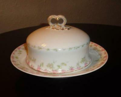 """LIMOGES Wm. GUERIN & Co. COVERED BUTTER DISH """"Vintage Made in France"""""""