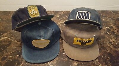 Lot of 4 Vintage Denim PATCH AD men's snapback trucker hat cap 1 Made in USA