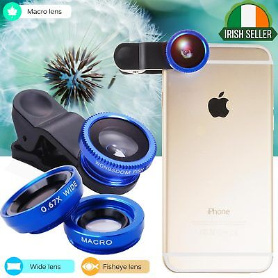 3in1 Clip Fish Eye Macro Wide Angle Lens For iPhone 6 6S 7 Plus 8 X Mobile Phone