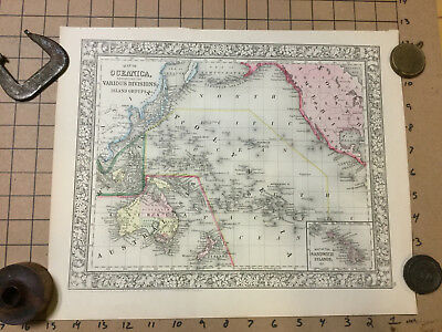 VINTAGE hand colored MAP: 1860 OCEANICA ISLAND GROUPS - mitchell -