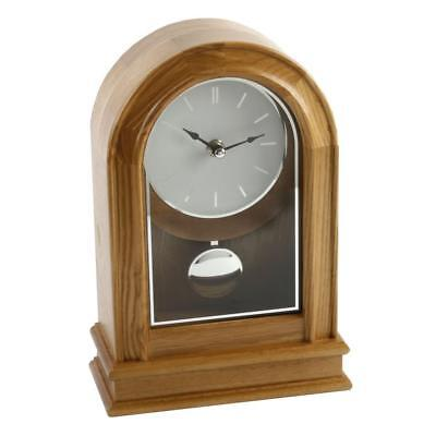 Light Oak Finish Quartz Pendulum Mantle Clock