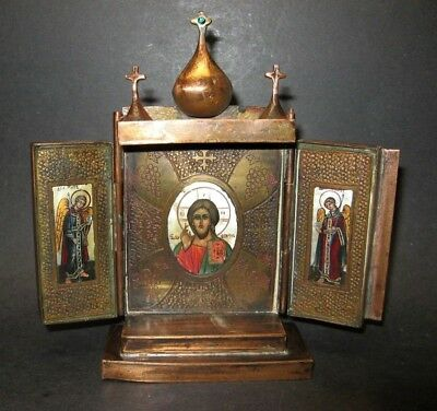 Antique Hand Painted Russian Orthodox icons triptych