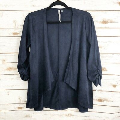 NY Collection Womens Faux Suede Cardigan Ruched 3/4 Sleeve Navy Blue Sz S NWT