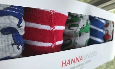 NWT Hanna Andersson Boys Boxer Briefs 5-Pack Stripes/Dinos XL (US 14-16) OP $50