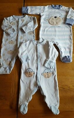 Next 0-3 Month SLEEPSUIT ALL IN ONE BABYGROW PLAYSUIT Blue Monkey