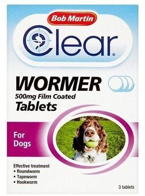 Bob Martic Clear Wormer 500mg Film Coated 3 Tablets For Dogs Effective Treatment
