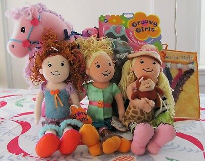 Groovy Girls Mini Lot! 3 Groovy Girls, NIP Outfit & Hair Extensions & Pink Duche