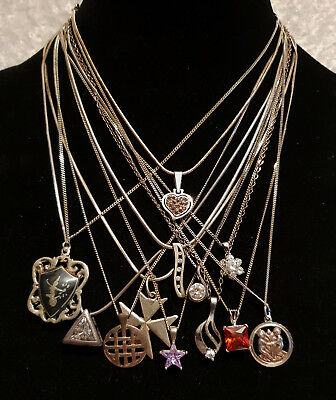 Job Lot of 12 Vintage 925 Solid Sterling Silver Necklaces - Pendants and Chains