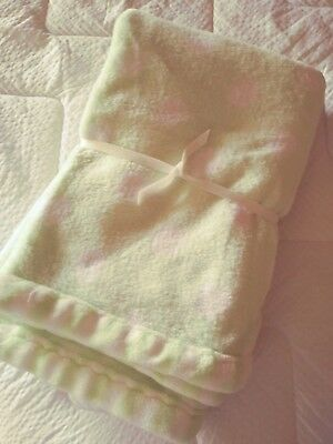 Baby blanket soft pale green and white, New