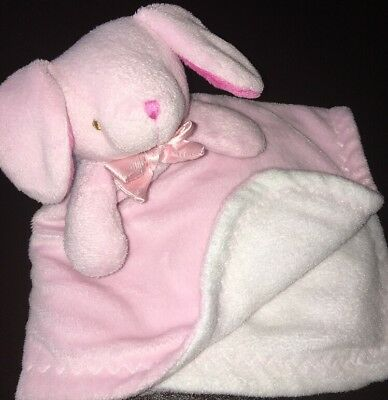 Blankets & Beyond Bunny Rabbit Security Blanket Pink White Fleece Lovey Bow