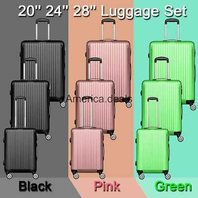 ABS Luggage Set Hard Rolling Suitcase Lightweight Durable 20inch 24ich 28inch