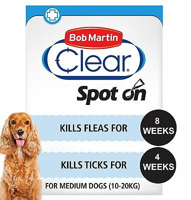 Bob Martin Clear Spot On Solution 134mg Medium Dogs Kills Fleas & Ticks