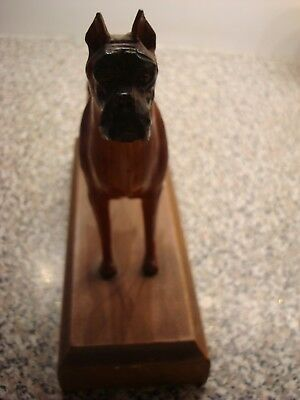 Large And Superbly Carved Wood Dog Boxer On Stand