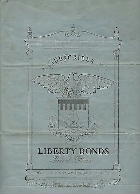 Canal Zone 3rd Liberty Loan poster. May 1918. Subscriber certificate 9 x12 inch