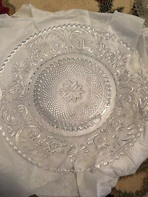 "Vintage Indiana Colony Clear Glass Sandwich 8""Salad Plate Set Of 6"