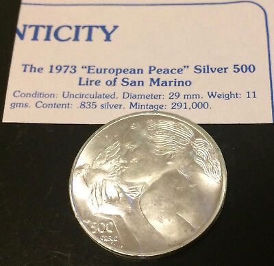 "1973 ""European Peace"" Silver 500 Lire of San Marino Uncirculated Condition"
