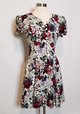 90s Vintage All That Jazz Women Floral Button Front Dress Size 11/ 12