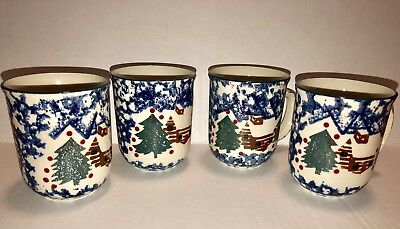 Set of 4 Folkcraft Tienshan Cabin in the Snow Coffee Cup Mugs!