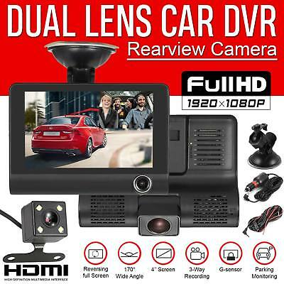 "Car DVR 4"" Dual Lens HD 1080P Rearview Video Dash Cam Recorder Camera G-sensor"