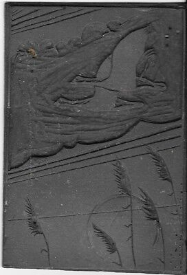 Antique Hand Carved Lino Printing Block Flying Geese Scene. Uk Dispatch