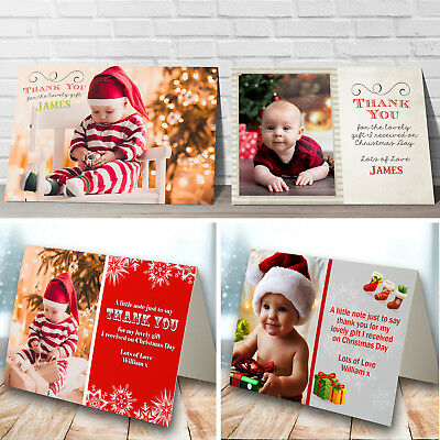 Personalised Pack of Christmas Thank You Cards Photo + Envelopes flat or folded