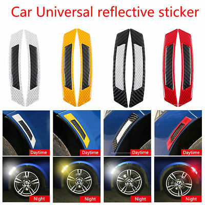 2Pcs Car Bumper Reflective Safety Warning Strip Tape Reflector Stickers Decals