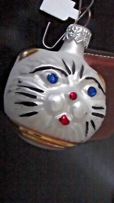 Vintage Mercury Glass Christmas Ornament Holiday Cat Face