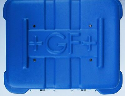 Blue Hard Plastic Clamshell Case with Front Clasps and +GF+ Logo
