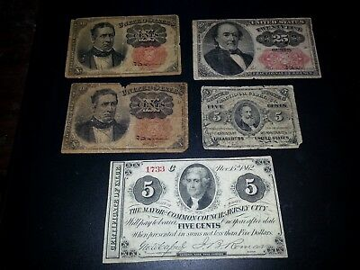 Five (5) USA Fractional Paper Money Currency Notes Obsolete Rare Collection Lot