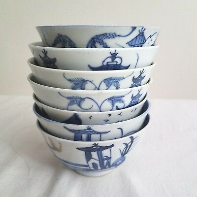 Antique 19th Century Chinese Export Blue White Canton Ware Porcelain BOWLS