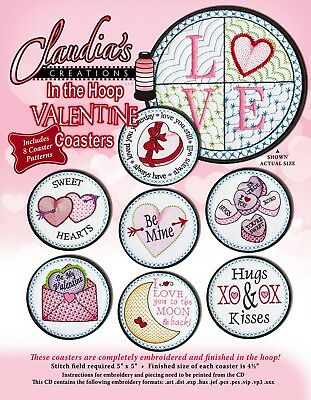 VALENTINE COASTERS HAND EMBROIDERY PATTERN CD, From Claudia's Creations